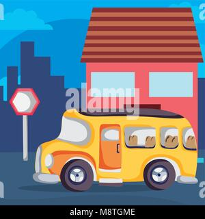 School bus on neighborhood - Stock Photo