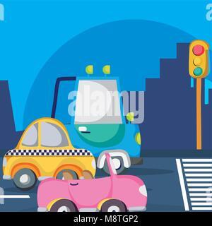 Vehicles waiting traffic light - Stock Photo