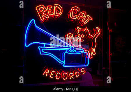 Neon sign for Red Cat Records, a vinyl record store in the South Main area of Vancouver. BC. Canada. - Stock Photo