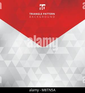 Abstract triangles pattern on gray and white color background and texture with arrow red tab for copy space. Geometric - Stock Photo