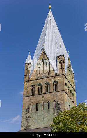 Tower of the St. Patrokli Dom of Soest, Germany - Stock Photo