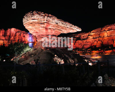 ANAHEIM, CALIFORNIA - September 19th, 2015 - Willy's Butte at night in Cars Land in Disney's California Adventure - Stock Photo