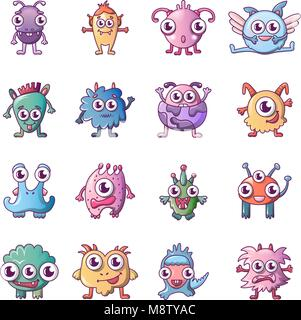 Alien scary monster icons set, cartoon style - Stock Photo