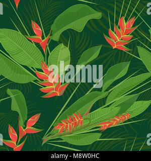 Branch tropical heliconia flower leaves seamless background. Watercolor realistic drawing in flat color style. isolated - Stock Photo