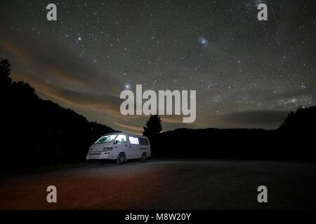 Campervan at night, Waitomo, New Zealand - Stock Photo