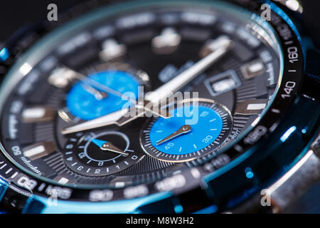 luxury man watch detail, chronograph close up - Stock Photo