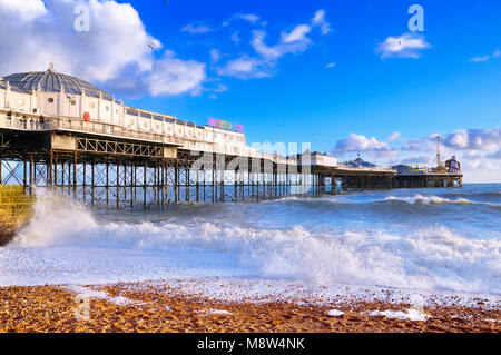 Brighton Palace Pier on a beautiful sunny afternoon, East Sussex, England, UK - Stock Photo