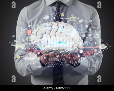 Man holds a brain with business drawing sketches on his hands. 3D Rendering - Stock Photo