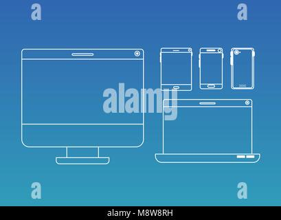 tecnology gadgets set icons - Stock Photo