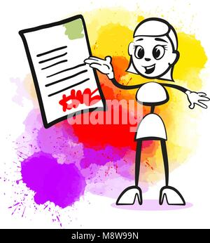 Business woman signing contract. Emotional business icon for digital marketing and print. Stickman series. - Stock Photo