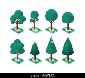 set trees plants mini isometric icons - Stock Photo