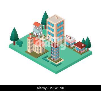 mini trees and buildings neighborhood isometric - Stock Photo