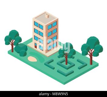 mini tree and building isometric - Stock Photo