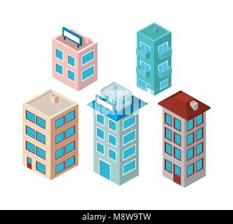 mini set buildings isometric icons - Stock Photo