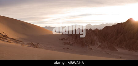 Salt formations and sand dunes at Valle de la Muerte (spanish for Death Valley) also know as Cordillera de la Sal - Stock Photo