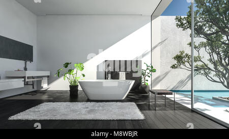 Modern spacious luxury bathroom in a shaft of sunlight streaming in through a glass wall onto a patio with tree. - Stock Photo
