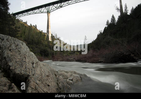 The Foresthill Bridge is one of the tallest bridges in California. - Stock Photo