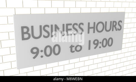 3D illustration of  the script BUSINESS HOURS 9:00 to 19:00 on a metal plate attached to a wall - Stock Photo