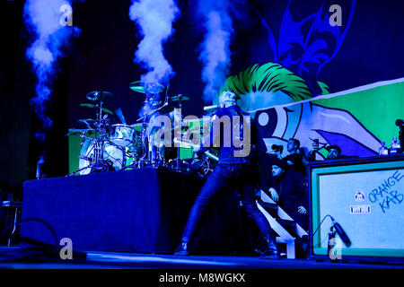 """Costa Mesa, California, March 17, 2018 - Blink-182 on stage at Travis Barkers """"Musink"""" Music and Tattoo Festival - Stock Photo"""