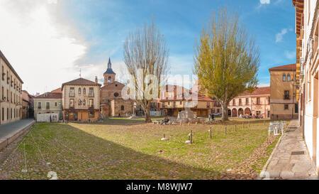 Landscape of Plaza del Grano, in Camino de Santiago in Leon (Spain). 2016 photo. - Stock Photo