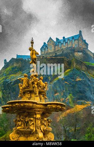 Digital painting of the golden Ross fountain in Princess street gardens in Edinburgh, Scotland creates a beautiful - Stock Photo
