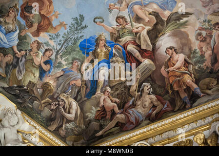 Florence. Italy. Allegory of Fortitude, fresco detail, 1685, in the Galleria Riccardiana by Luca Giordano (1634 - Stock Photo