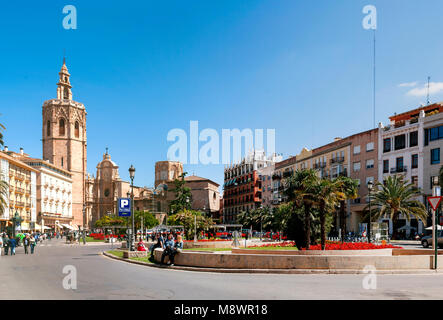 Valencia, Spain, May 1st 2013: Plaza de la Reina in Valencia, Spain, with the cathedral and bell tower in the distance - Stock Photo