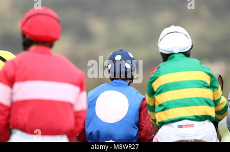 Jockeys during the Gold Cup Friday of the 2018 Cheltenham Festival at Cheltenham Racecourse. - Stock Photo