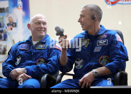 Baikonur, Kazakhstan. 20th Mar, 2018. BAIKONUR, KAZAKHSTAN - MARCH 20, 2018: ISS Expedition 55/56 prime crew members, - Stock Photo
