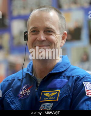 Baikonur, Kazakhstan. 20th Mar, 2018. BAIKONUR, KAZAKHSTAN - MARCH 20, 2018: NASA astronaut Richard Arnold smiles - Stock Photo
