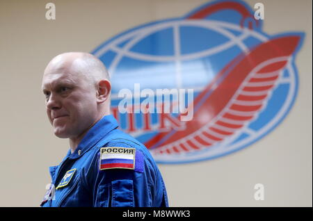 Baikonur, Kazakhstan. 20th Mar, 2018. BAIKONUR, KAZAKHSTAN - MARCH 20, 2018: Roscosmos cosmonaut Oleg Artemyev looks - Stock Photo