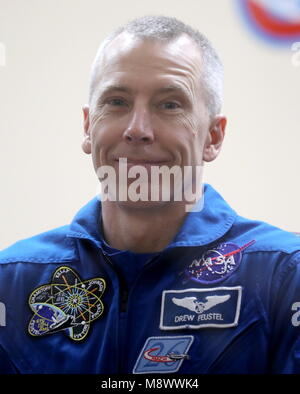 Baikonur, Kazakhstan. 20th Mar, 2018. BAIKONUR, KAZAKHSTAN - MARCH 20, 2018: NASA astronaut Andrew J. Feustel smiles - Stock Photo