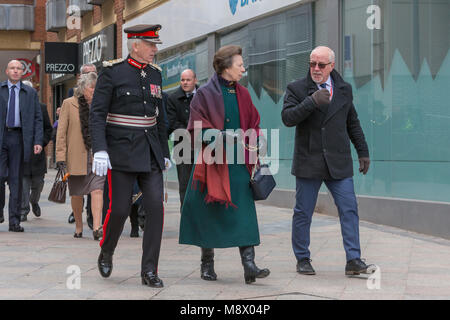 Warrington, UK. 20th Mar, 2018. HRH Princess Anne attends 25 year anniversary of IRA bomb, Warrington. Colin Parry - Stock Photo