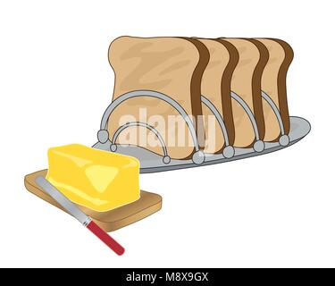 a vector illustration in eps 10 format of a metal toast rack with four slices of toast and a wooden board with a - Stock Photo