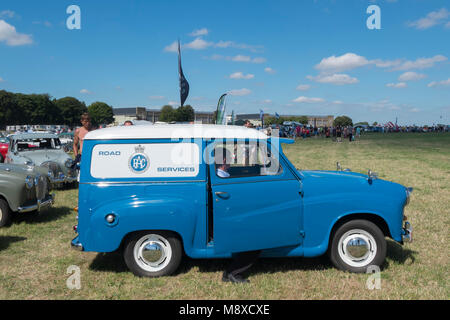 Blue and white RAC Road Services 1950s Austin van at the Austin A30 and A35 Owners Club at the Gloucestershire Vintage - Stock Photo