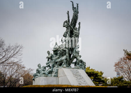 Seoul, South Korea - March 19, 2018 : Memorial statue at Seoul National Cemetery in Dongjak-gu, Seoul, South Korea - Stock Photo