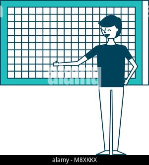 happy cartoon man pointing in board presentation - Stock Photo