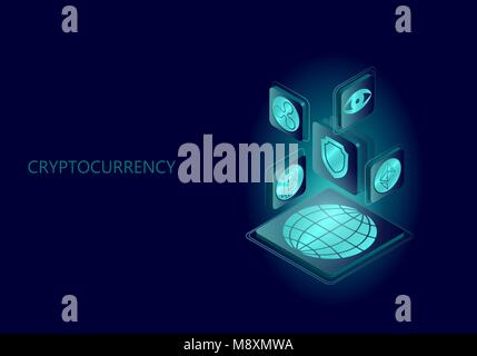 Blockchain blue isometric composition. Flat glowing platform planet Earth sign safety shield Bitcoin Ethereum Ripple - Stock Photo