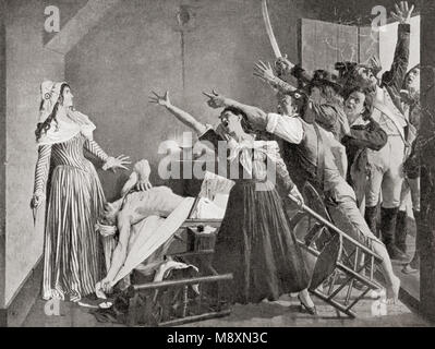 The assassination of Marat by Charlotte Corday, 1793.  Jean-Paul Marat,  1743 – 1793.  French political theorist, - Stock Photo