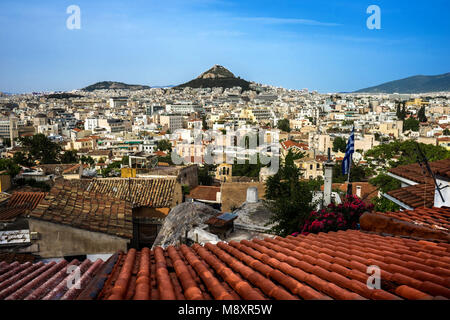 thw city of Athens fron Above, Greece - Stock Photo