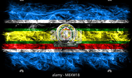 East African Community smoke flag, EAC flag - Stock Photo