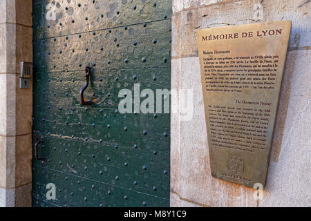 LYON, FRANCE, March 11, 2018 : Traboule information. Traboules (from Latin transambulare meaning 'to cross') are - Stock Photo