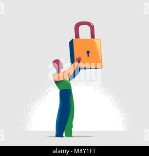 Torso of a manager is locking one virtual lock in a lineup of open padlocks. Business metaphor and technology concept - Stock Photo