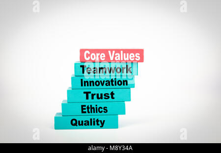 Core Values. Business Concept With Colorful Wooden Blocks - Stock Photo