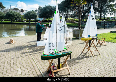 Newquay Model Yacht Club at Trenance Boating Lake in Newquay Cornwall. - Stock Photo