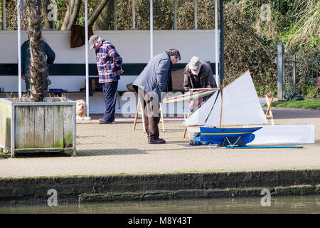 Members of the Newquay Model Yacht Club at Trenance Boating Lake in Newquay Cornwall. - Stock Photo