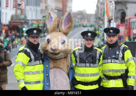 Peter Rabbit In St. Patrick's Day Parade Dublin 2018 - Stock Photo