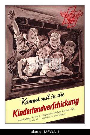 Vintage WW2 Nazi Germany ' Kinderlandverschickung' Propaganda Poster from 1942-1943. Allied bombing of German cities - Stock Photo