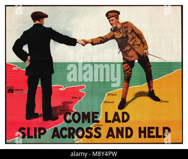 WWI propaganda recruitment graphic artwork poster for British Army serving in France  'Come lad slip across and - Stock Photo