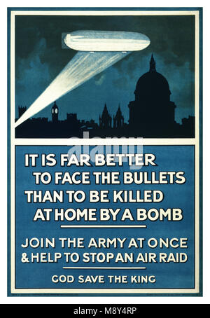 1915 Propaganda WW I Recruitment UK poster - 'It is far better to face the bullets than to be killed at home by - Stock Photo